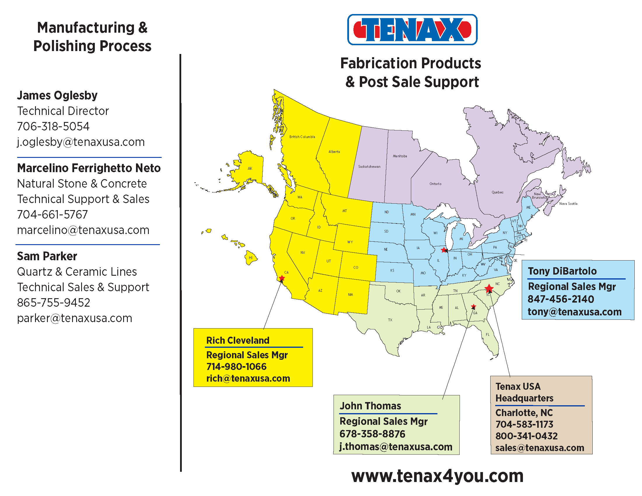 Tenax USA Coverage Map